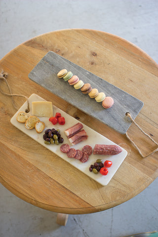 Grey Marble Long Cutting Board W/Rope Handle