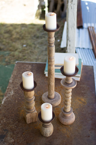 Set Of Four Recycled Turned Wood Candle Holders