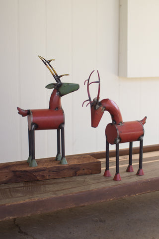 Set Of 2 Recycled Metal Reindeer