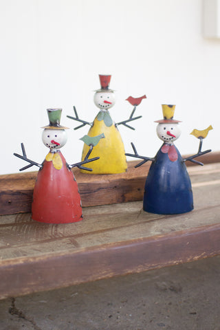Set Of Three Recycled Metal Snowmen
