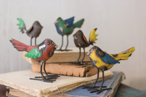 Set Of Five Recycled Metal Birds