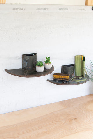 Set Of Two Repurposed Iron Spool Shelves