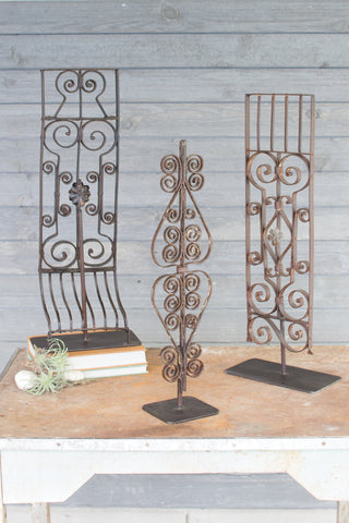 Set Of Three Repurposed Iron Grilles With Stand - Assorted