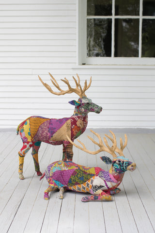 Set Of Two Stag With Recycled Patchwork Cloth