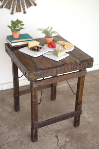 Antique Wooden Side Table With Folding Legs