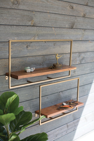 Set Of Two Square Iron With Mango Wood Shelves