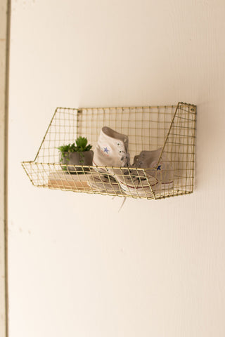 Hanging Wire Single Rectangle Wall Rack - Old Gold