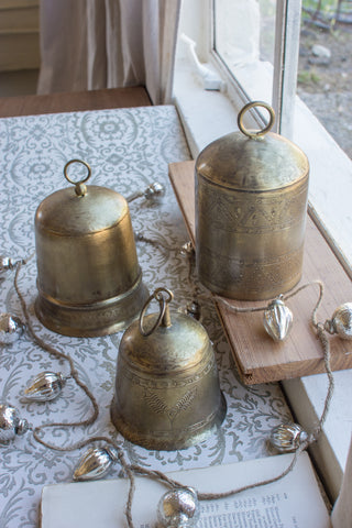 Set Of Three Antique Brass Finish Bells
