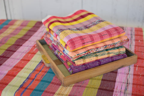 Set Of 6 Assorted Recycled Cotton Throws