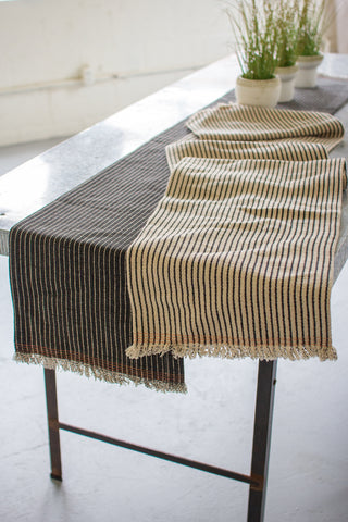 Set Of Two Cotton And Jute Table Runners