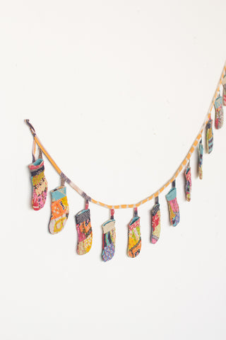 Recycled Kantha Fabric Christmas Stockings Garland