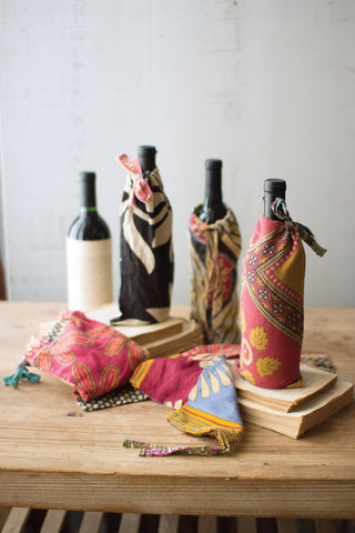 Set Of Six Kantha Wine Pouches