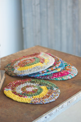 Set Of Six Round Knitted Kantha Placemats