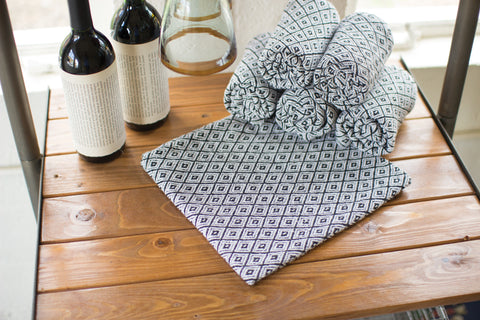 Set Of 6 Cotton Napkins - Black And White Diamonds