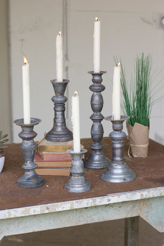Set Of Five Zinc Candle Holders With Brass Detail