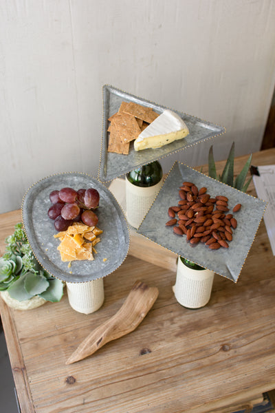 Set Of 3 Bottle Topper Zinc Serving Trays