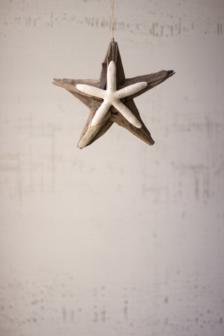Driftwood Star Ornament With Starfish Detail