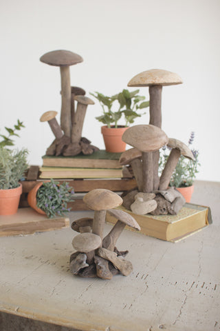Set Of Three Driftwood Mushroom Clusters