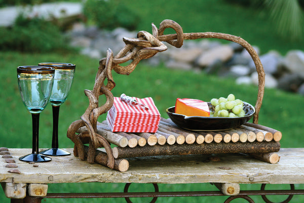 Rectangular Twig Serving Tray With Crazy Vine Handle