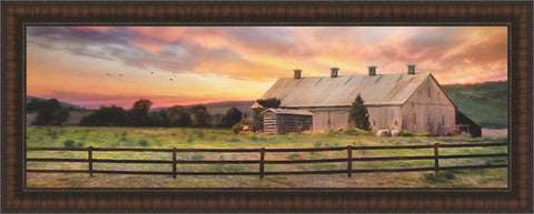 Sunset in the Valley Wall Art 16 x 40 inch framed size (approximately)