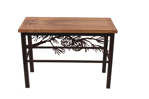 "Cabin Accent Decor - 24"" Iron Pine Branch Scene Bench"