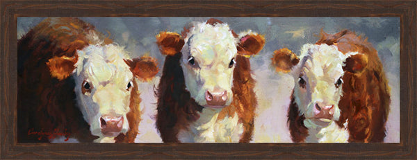 Winter Calves Wall Art 20.5 x 52.5 inch framed size (approximately)