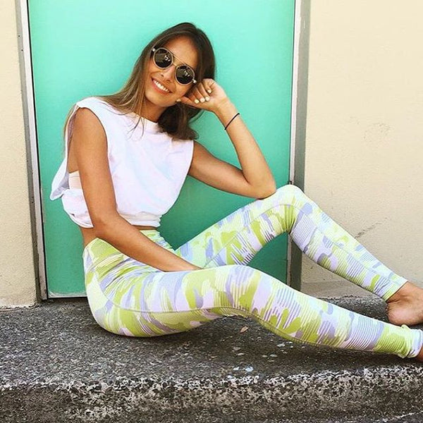 @dominiquelissa wears lilybod legging activewear WILLOW - Wasabi Splice
