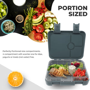 Space Grey Lunch Box with 4 Compartments