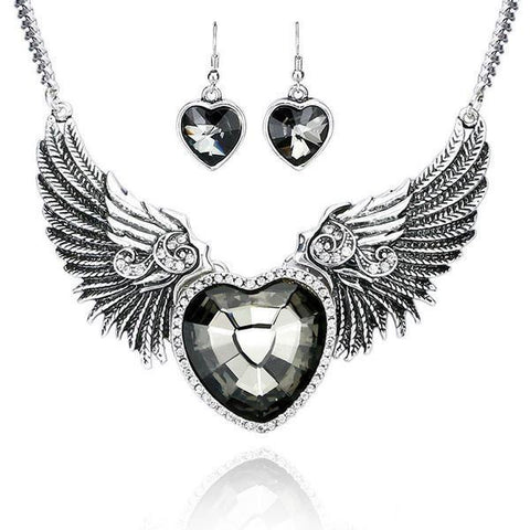 Angel Wings Heart Necklace & Earrings Set