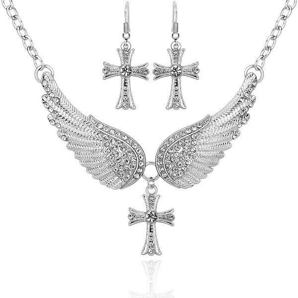 Angel Wings Cross Pendant Necklace & Earrings Set
