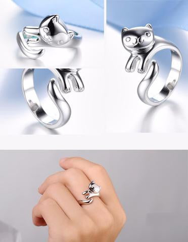 Silver ADJUSTABLE HIGH END CAT FASHION RING