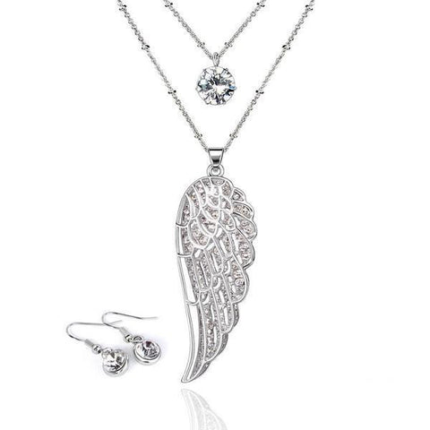 Angel Wings Two-layer Long Necklace & Earrings Set