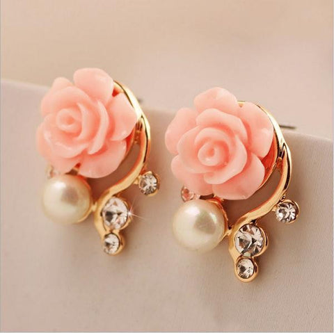 8 Colors Rose Crystal Pearl Stud Earrings