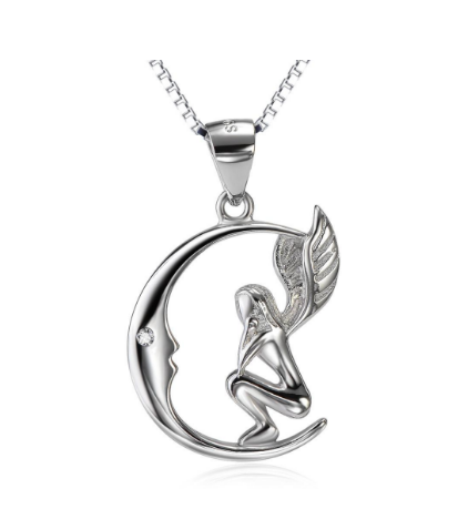 MOON ANGEL STERLING SILVER NECKLACE