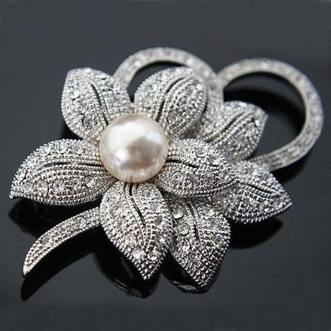Rhodium Plated Pearl Flower Brooch