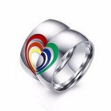 LGBT PRIDE COUPLE'S TOGETHER FOREVER HEART RINGS