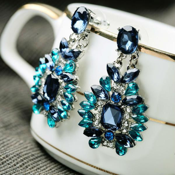 Shiny Blue Plant Resin Stone Earrings