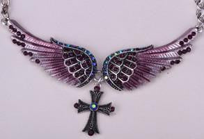Angel Wings Crystal Cross Necklace