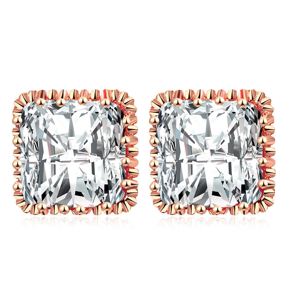Fashion Square Stud Earrings Rose Gold/White Gold Plated