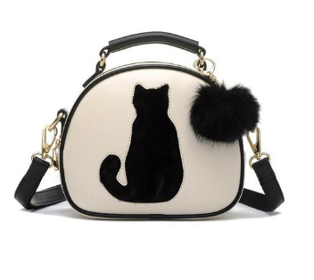CAT & FUR BALL CROSSBODY HANDBAG