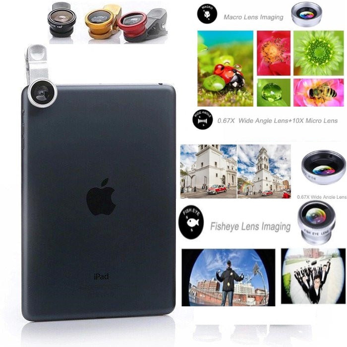 "Smartphone Universal 3 in 1 Clip On Lens Kit ""Macro, Wide Angle & Fisheye"""