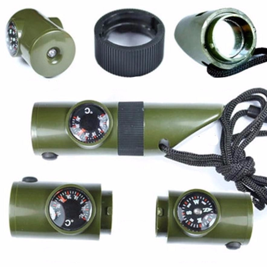 New 7 in 1 Field Survival Whistle Compass Thermometer Flashlight Magnifier &more