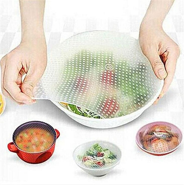 Multifunctional Silicone Food Saran Wrap Clear Reusable Silicone Wraps Seal Cover Stretch Fresh