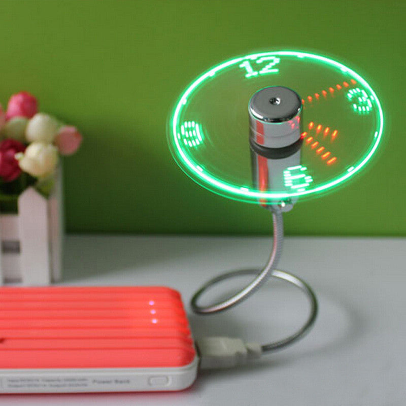 USB Mini Flexible Time LED Clock Fan With LED Light with Flexible Usb Clock