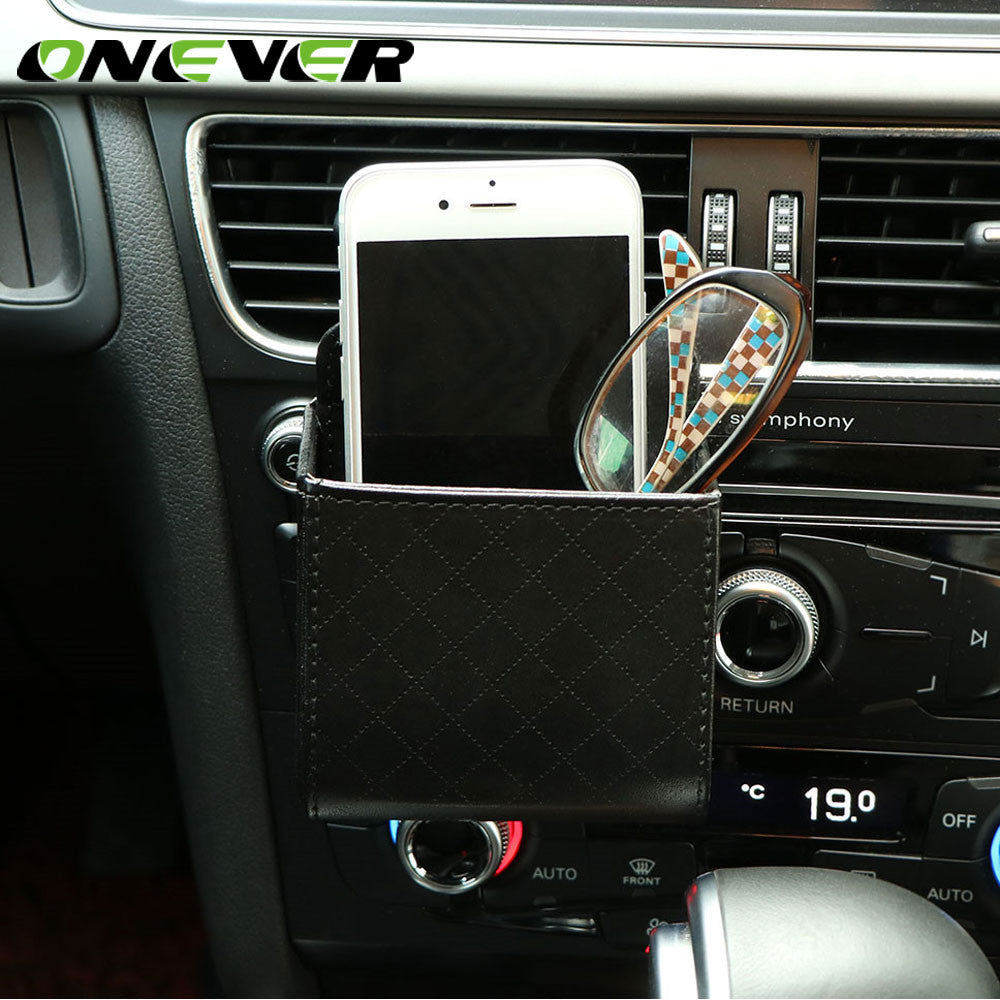 Onever Auto Car Air Vent Hanging Organizer Bag Phone Glasses Cash Card Storage Box Holder for Coins Headphones Keys Small Gadget