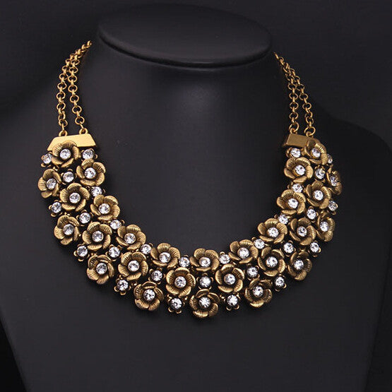 New Design Brand Vintage Ethnic Multilayer Flower Choker Necklaces