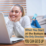 JennyGems Stand Up Sign - Motivational Life Series When You Start At The Bottom The Only Direction You Can Go Is Up - Office and Desk Decor- Shelf Knick Knacks