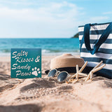 JennyGems Salty Kisses and Sandy Paws | Cute Beach House Sign | Wood Sign | Funny Dog Sign | Coastal Decor | Dog Signs | Made in USA