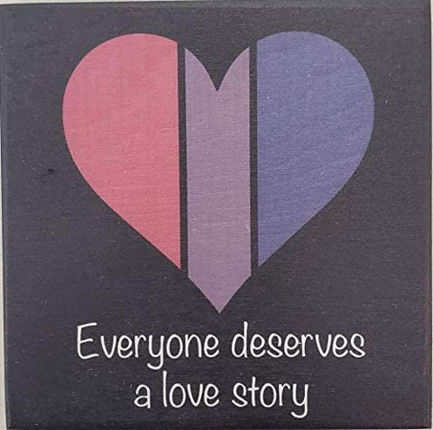 JennyGems Everyone Deserves a Love Story | Bisexual LGBTQ Pride | Bisexual Pride Gifts | Wooden Sign | Made in USA