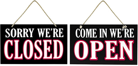 JennyGems Open and Closed Sign for Business - Wooden Business Sign - Open Close - Signs for Business Owners